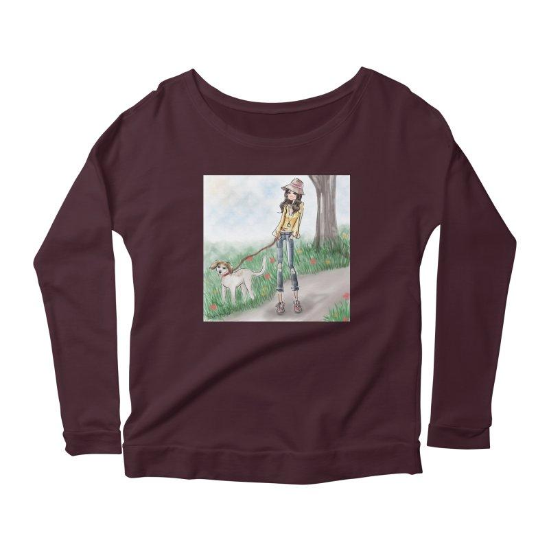 A walk in the Park Women's Scoop Neck Longsleeve T-Shirt by deannakei's Artist Shop