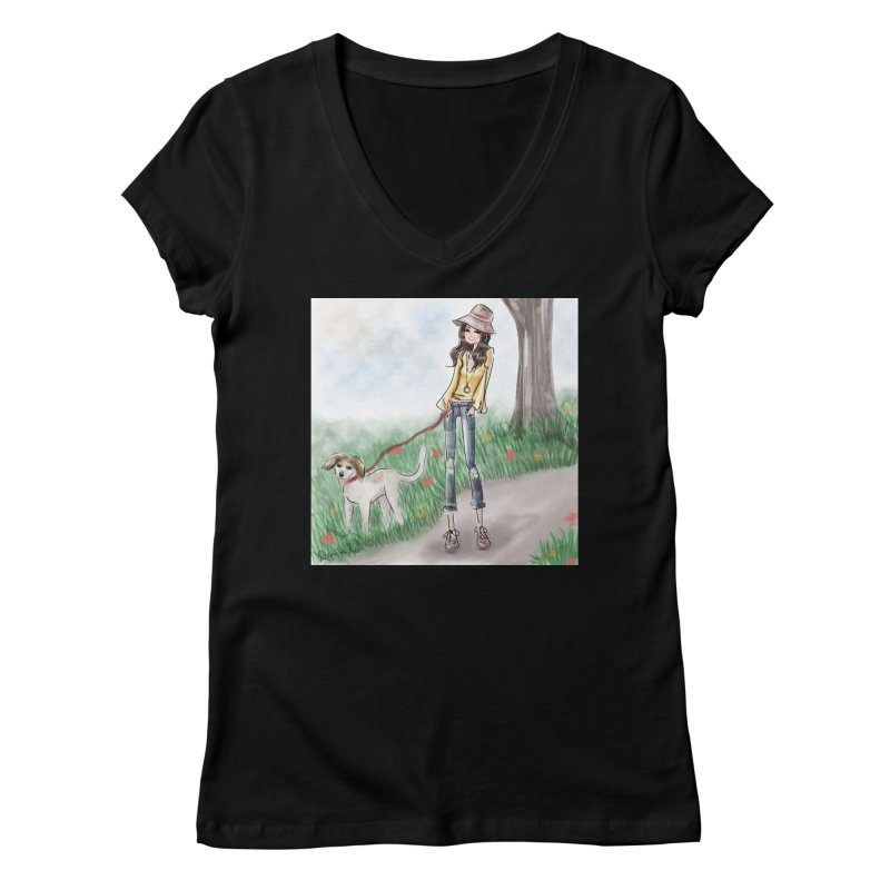 A walk in the Park Women's V-Neck by Deanna Kei's Artist Shop
