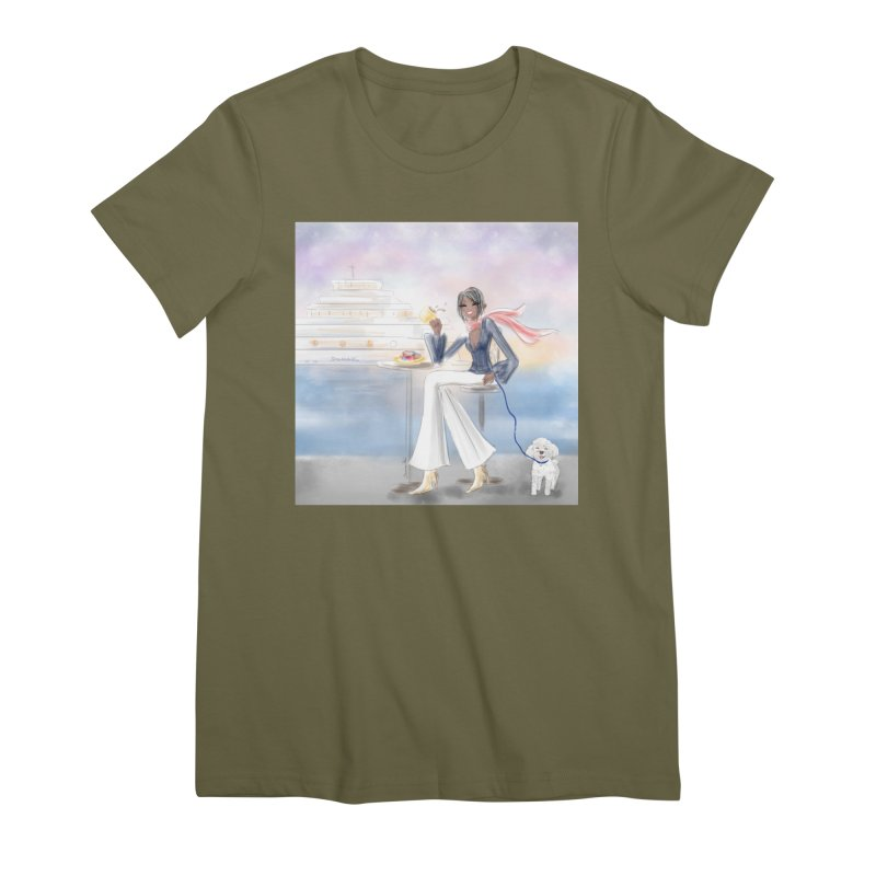 Cafe by the Sea Women's Premium T-Shirt by deannakei's Artist Shop