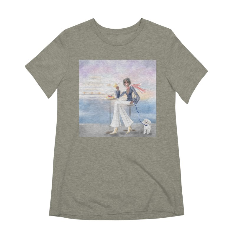 Cafe by the Sea Women's Extra Soft T-Shirt by deannakei's Artist Shop
