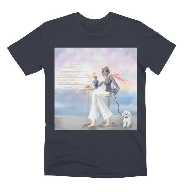 Cafe by the Sea Men's Premium T-Shirt by deannakei's Artist Shop