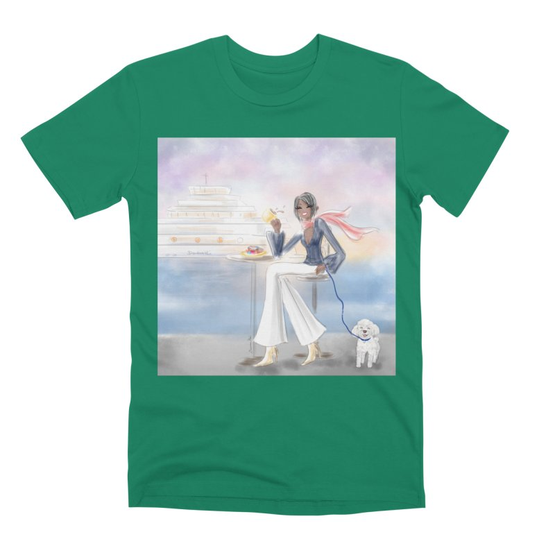 Cafe by the Sea Men's Premium T-Shirt by deannakei's Artist Shop