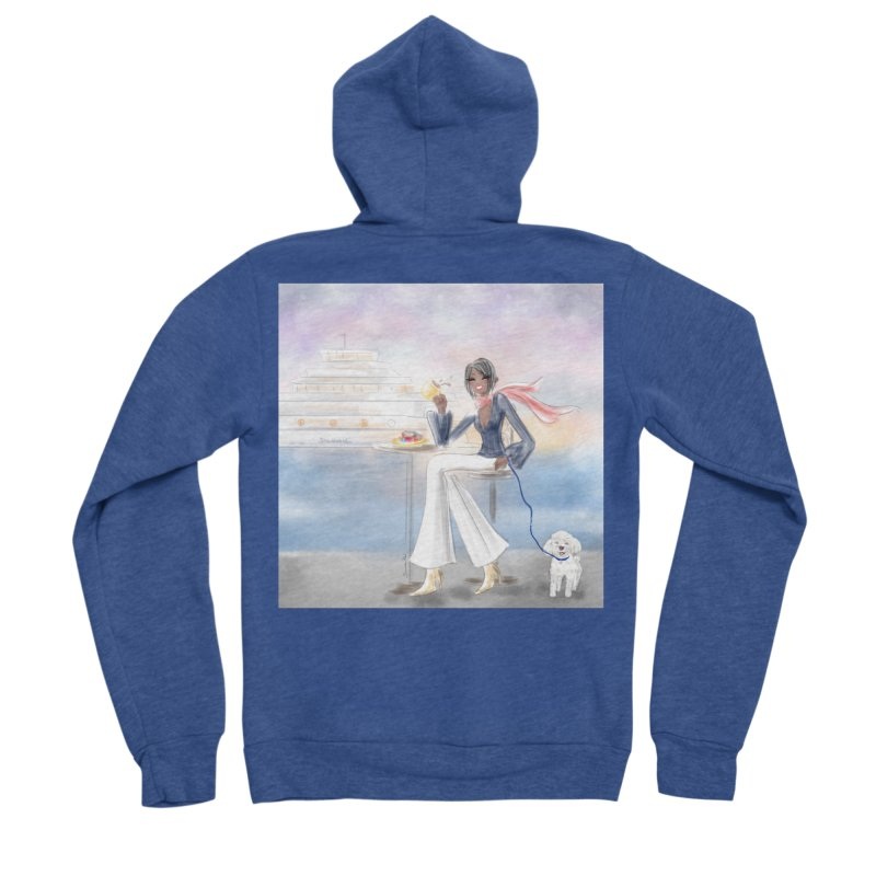 Cafe by the Sea Women's Sponge Fleece Zip-Up Hoody by deannakei's Artist Shop