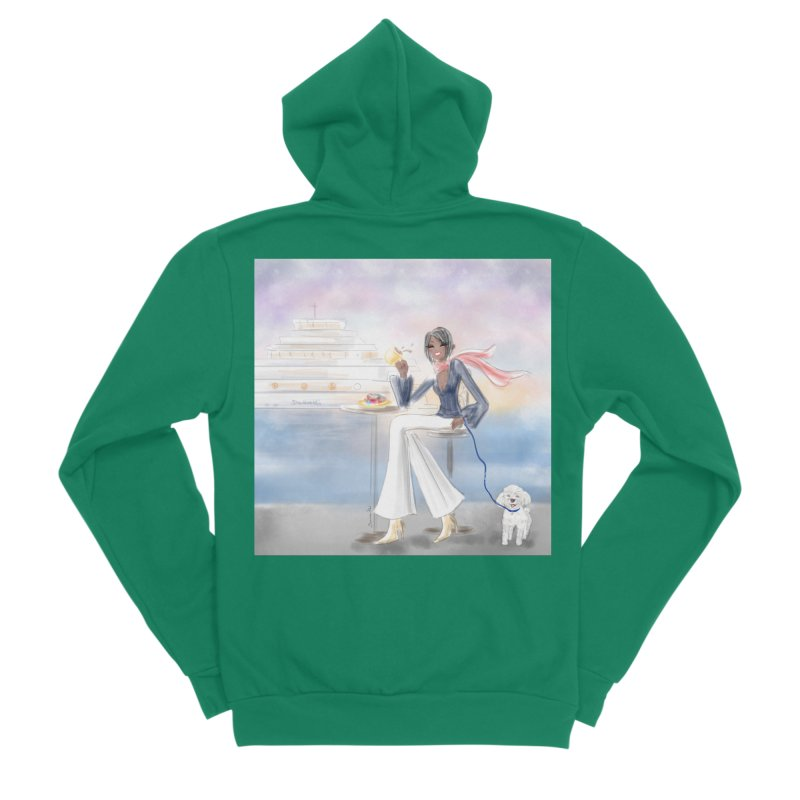 Cafe by the Sea Women's Sponge Fleece Zip-Up Hoody by Deanna Kei's Artist Shop