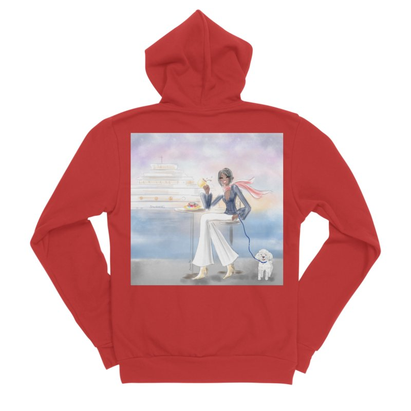 Cafe by the Sea Men's Sponge Fleece Zip-Up Hoody by Deanna Kei's Artist Shop