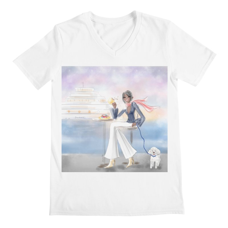 Cafe by the Sea Men's V-Neck by Deanna Kei's Artist Shop