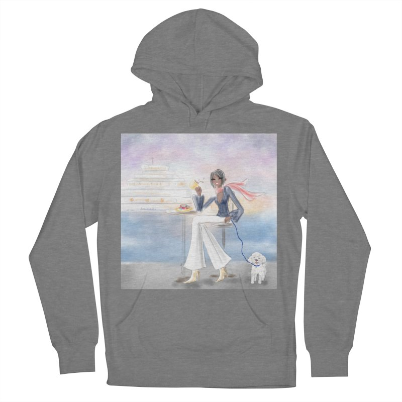 Cafe by the Sea Women's French Terry Pullover Hoody by Deanna Kei's Artist Shop