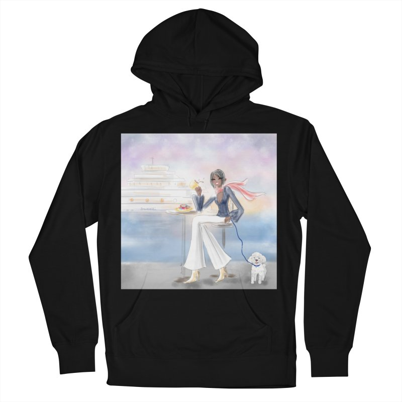 Cafe by the Sea Women's French Terry Pullover Hoody by deannakei's Artist Shop