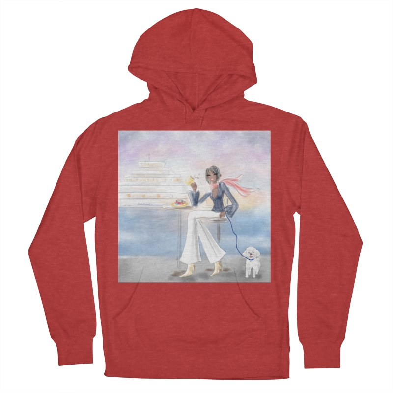 Cafe by the Sea Men's French Terry Pullover Hoody by Deanna Kei's Artist Shop