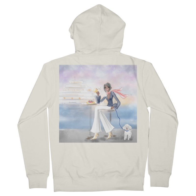 Cafe by the Sea Women's French Terry Zip-Up Hoody by deannakei's Artist Shop