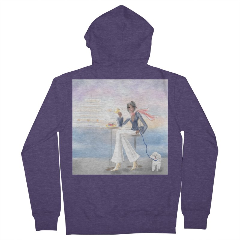 Cafe by the Sea Men's French Terry Zip-Up Hoody by deannakei's Artist Shop