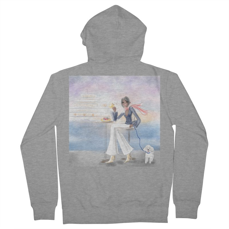 Cafe by the Sea Men's French Terry Zip-Up Hoody by Deanna Kei's Artist Shop