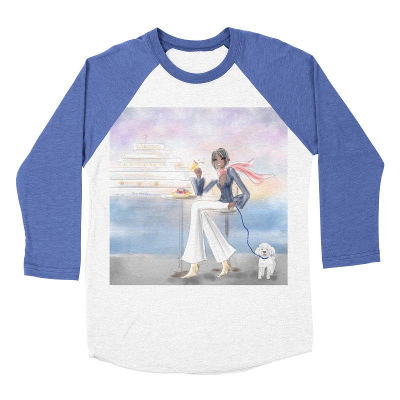 Cafe by the Sea Women's Baseball Triblend Longsleeve T-Shirt by Deanna Kei's Artist Shop