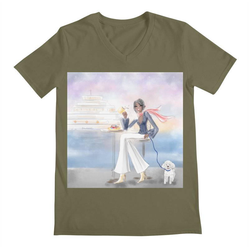 Cafe by the Sea Men's Regular V-Neck by Deanna Kei's Artist Shop