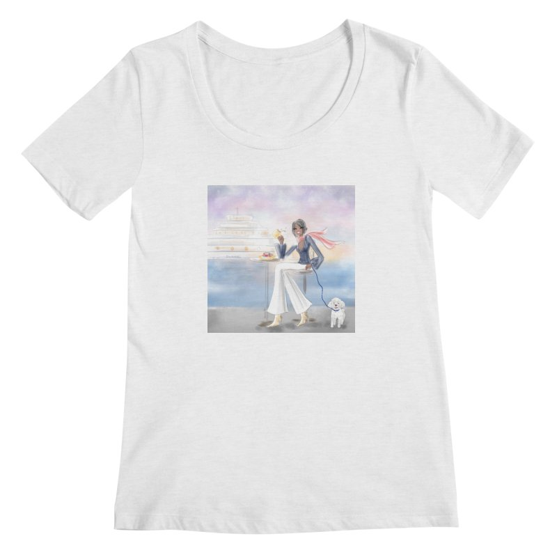 Cafe by the Sea Women's Regular Scoop Neck by Deanna Kei's Artist Shop