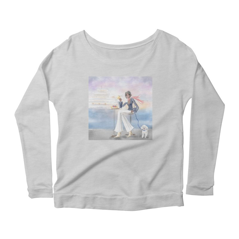 Cafe by the Sea Women's Scoop Neck Longsleeve T-Shirt by Deanna Kei's Artist Shop
