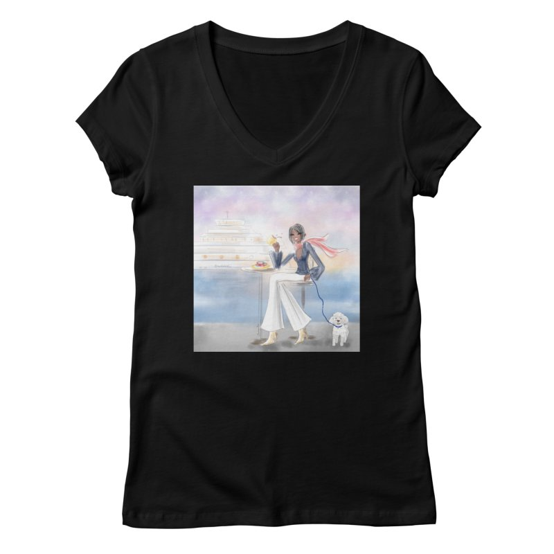 Cafe by the Sea Women's Regular V-Neck by Deanna Kei's Artist Shop