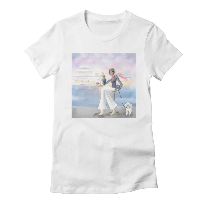 Cafe by the Sea Women's Fitted T-Shirt by deannakei's Artist Shop