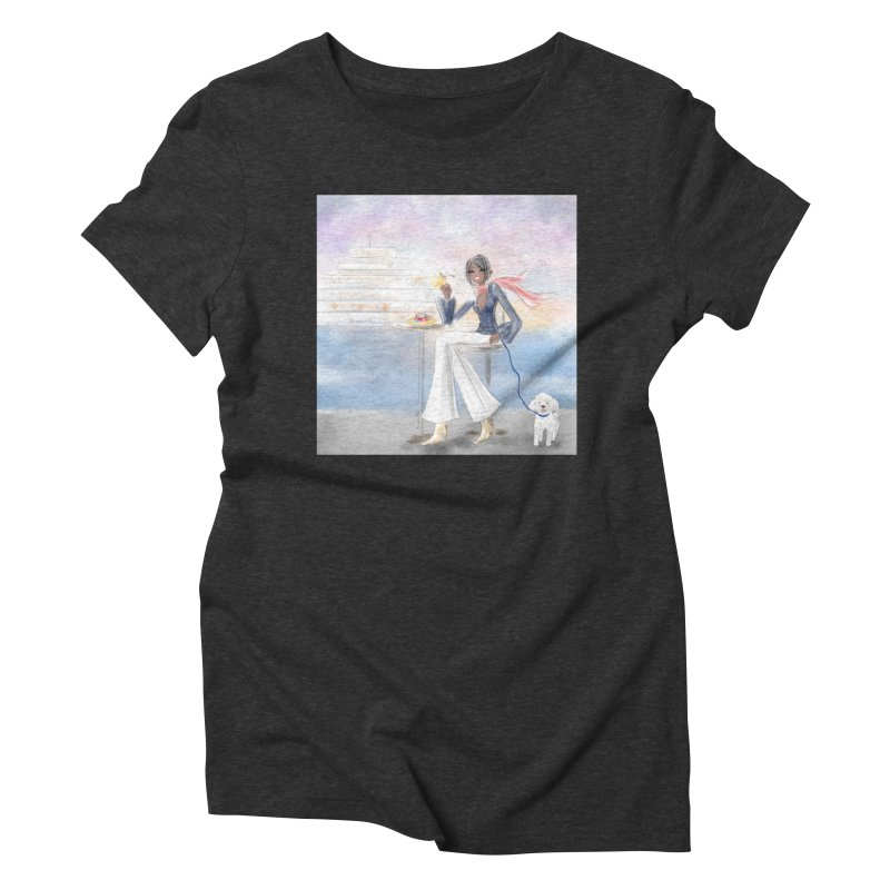 Cafe by the Sea Women's Triblend T-Shirt by deannakei's Artist Shop