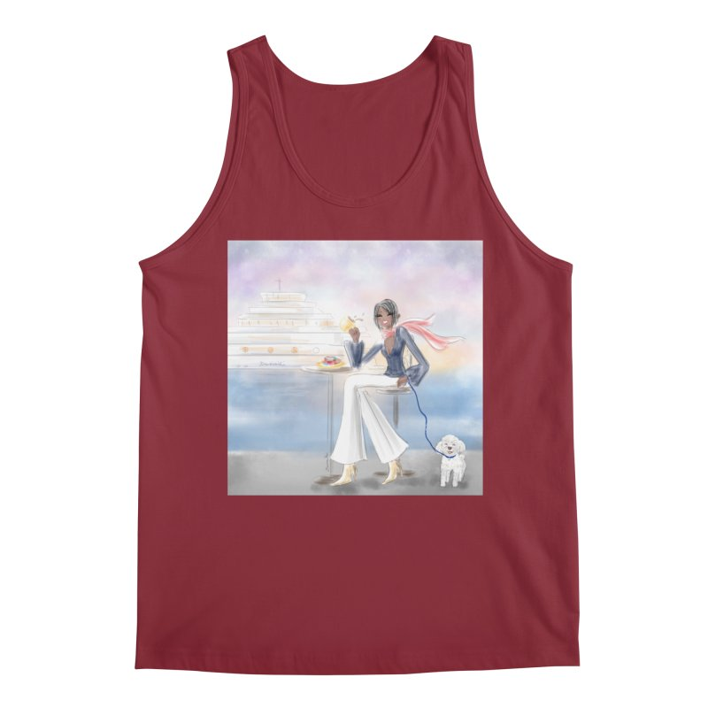 Cafe by the Sea Men's Tank by Deanna Kei's Artist Shop