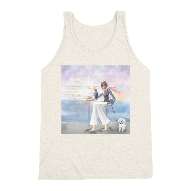 Cafe by the Sea Men's Triblend Tank by Deanna Kei's Artist Shop