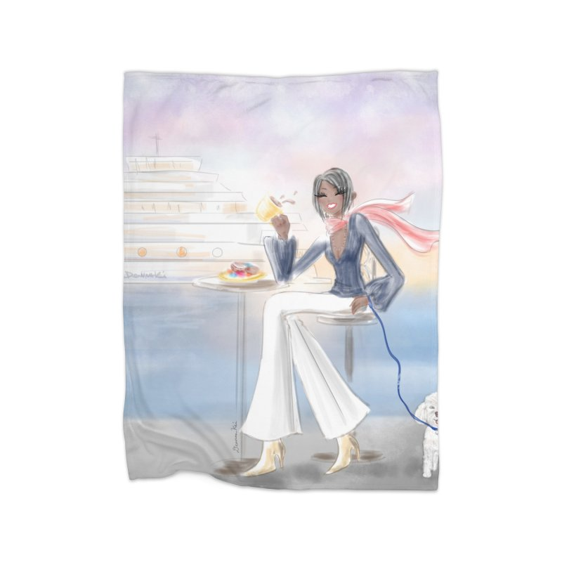Cafe by the Sea Home Fleece Blanket Blanket by Deanna Kei's Artist Shop