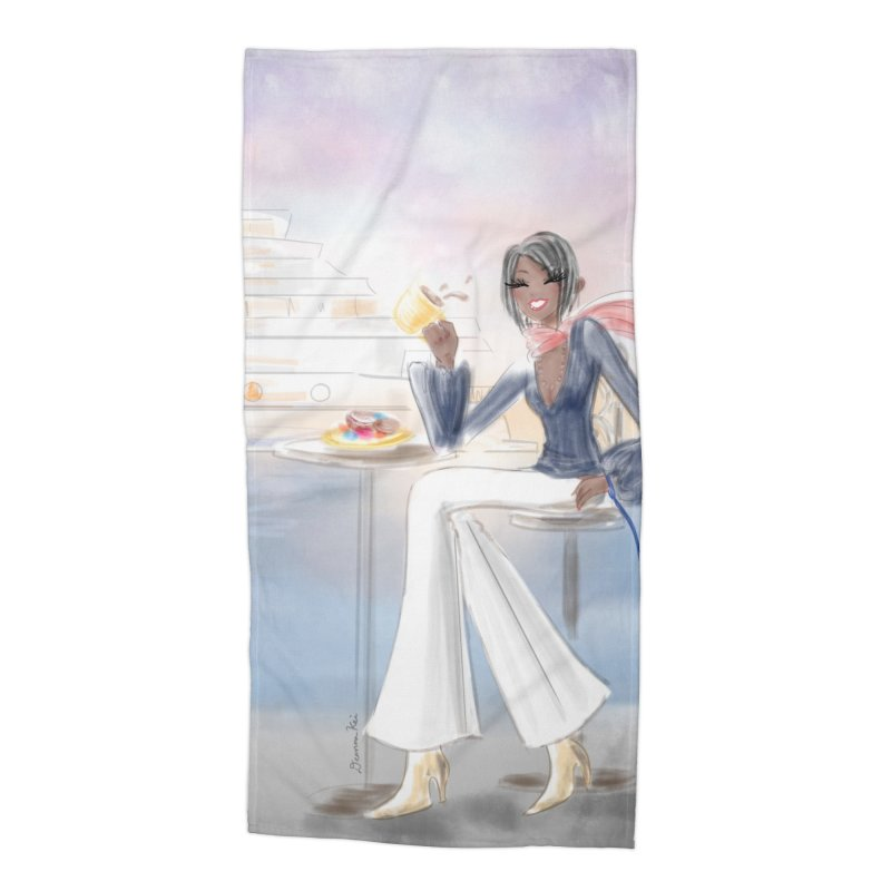 Cafe by the Sea Accessories Beach Towel by Deanna Kei's Artist Shop