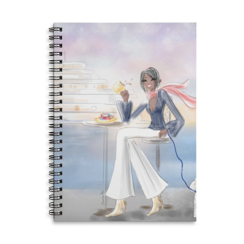 Cafe by the Sea Accessories Lined Spiral Notebook by deannakei's Artist Shop