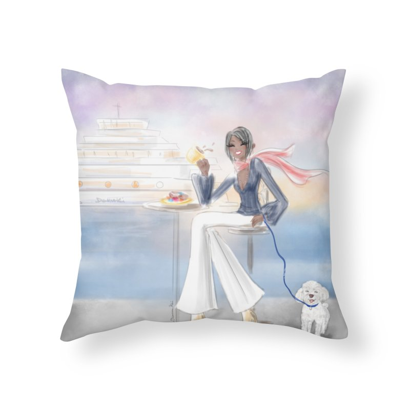 Cafe by the Sea Home Throw Pillow by deannakei's Artist Shop