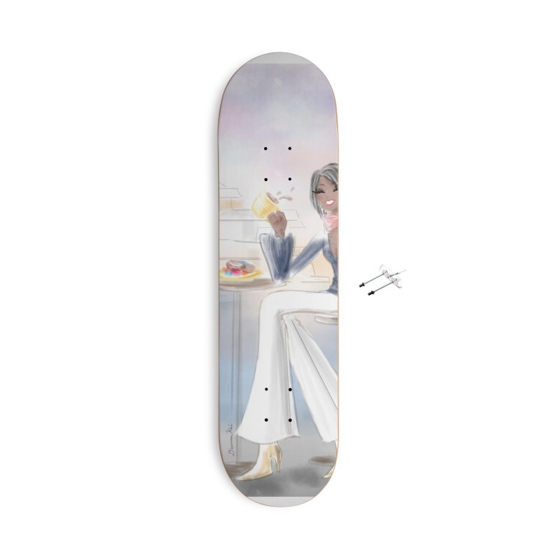 Cafe by the Sea Accessories With Hanging Hardware Skateboard by deannakei's Artist Shop