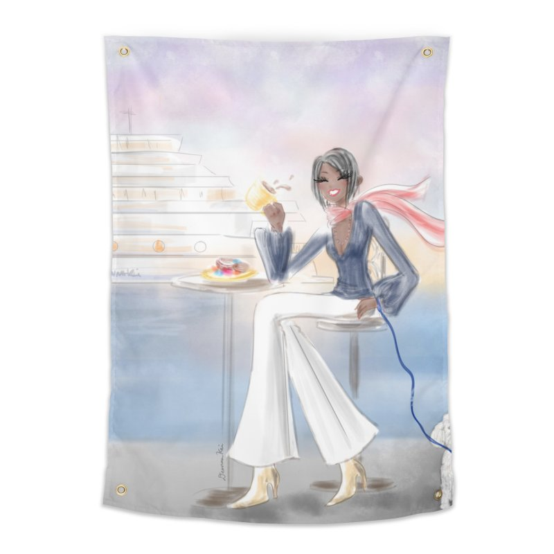 Cafe by the Sea Home Tapestry by deannakei's Artist Shop