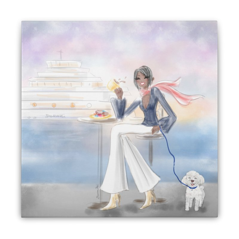 Cafe by the Sea Home Stretched Canvas by deannakei's Artist Shop