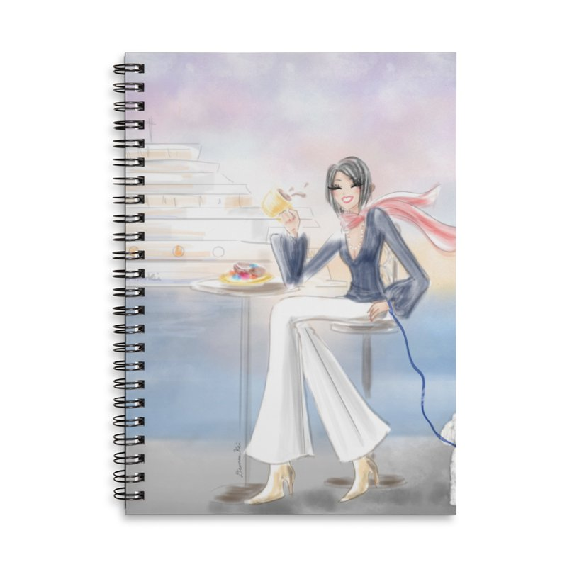 Cafe by the Sea - Accessories Lined Spiral Notebook by deannakei's Artist Shop