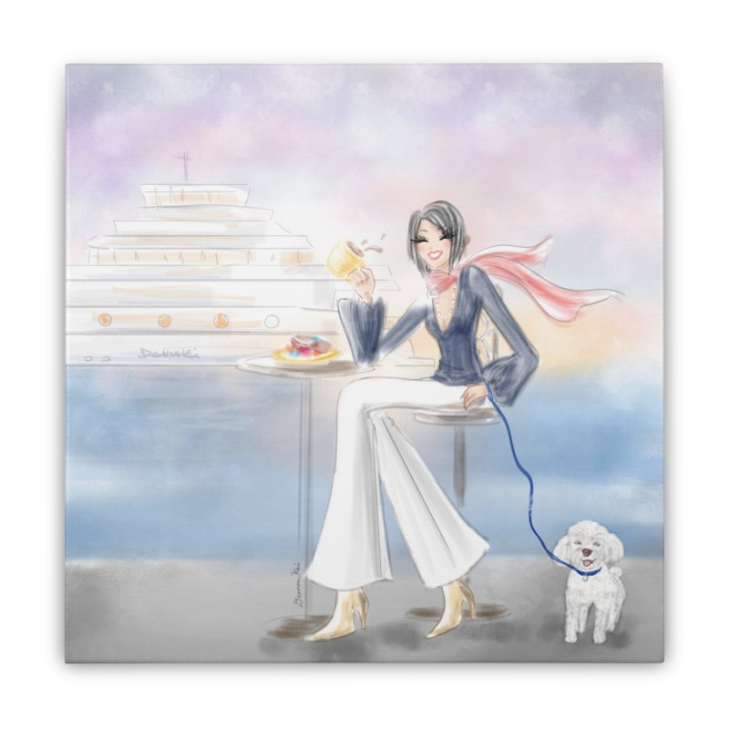 Cafe by the Sea - Home Stretched Canvas by deannakei's Artist Shop