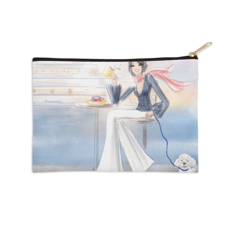 Cafe by the Sea - Accessories Zip Pouch by Deanna Kei's Artist Shop