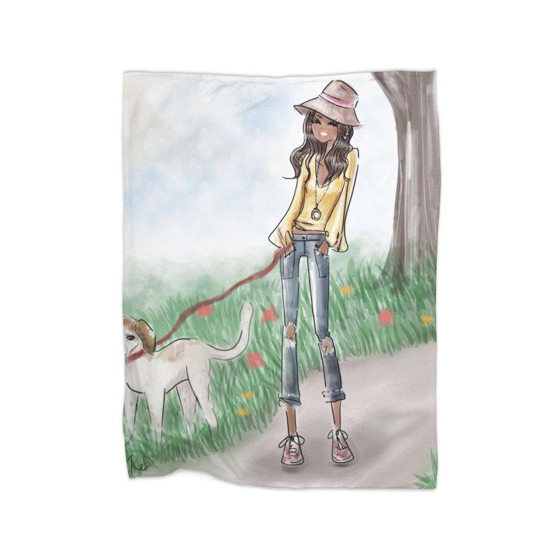 A walk in the Park Home Fleece Blanket Blanket by deannakei's Artist Shop