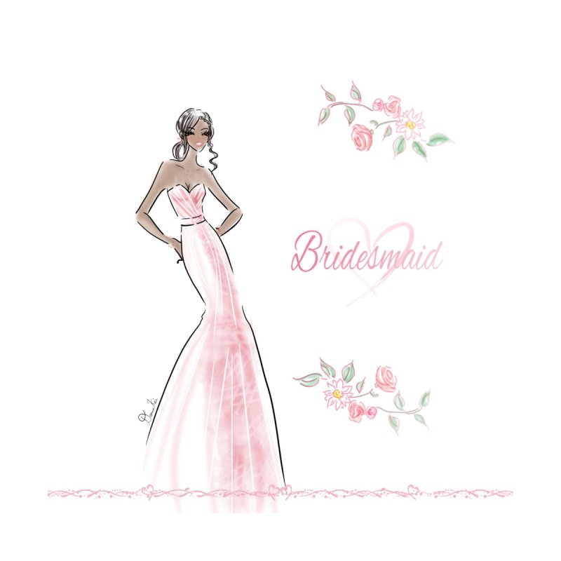 Bridesmaid - Pink Dress - 1 Home Throw Pillow by Deanna Kei's Artist Shop