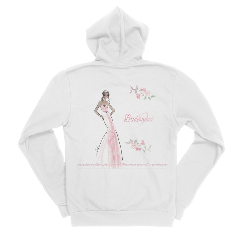 Bridesmaid - Pink Dress - 1 Women's Sponge Fleece Zip-Up Hoody by deannakei's Artist Shop
