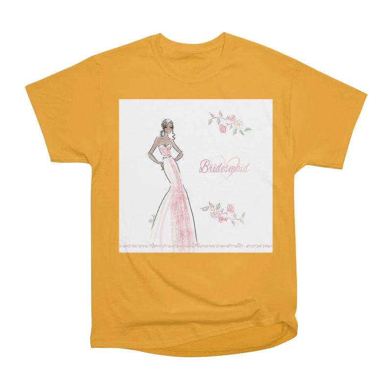 Bridesmaid - Pink Dress - 1 Women's Heavyweight Unisex T-Shirt by deannakei's Artist Shop