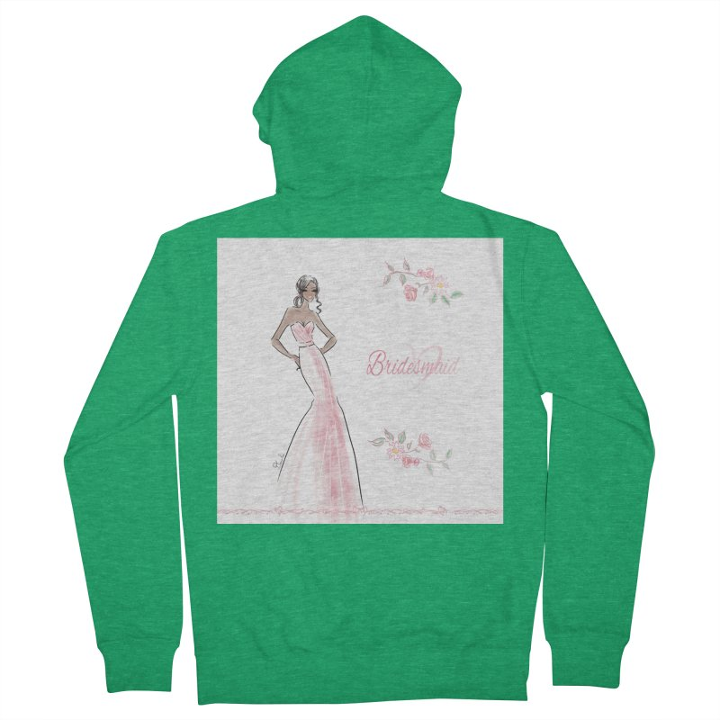 Bridesmaid - Pink Dress - 1 Women's French Terry Zip-Up Hoody by deannakei's Artist Shop