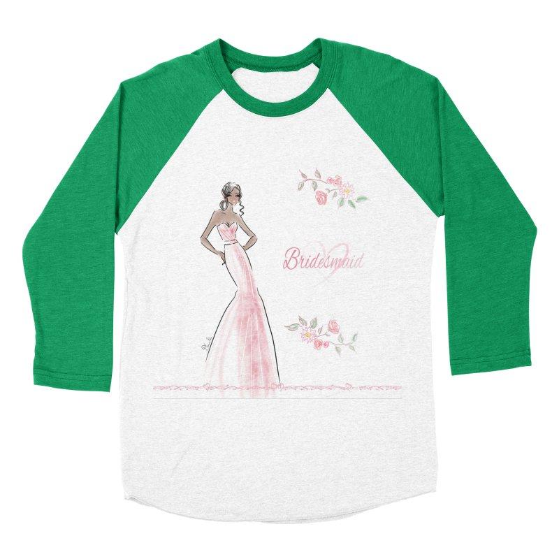 Bridesmaid - Pink Dress - 1 Women's Baseball Triblend Longsleeve T-Shirt by deannakei's Artist Shop