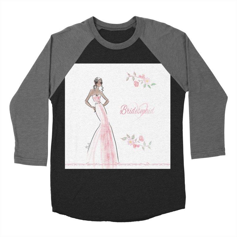 Bridesmaid - Pink Dress - 1 Women's Baseball Triblend Longsleeve T-Shirt by Deanna Kei's Artist Shop