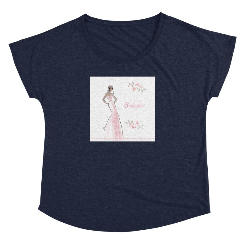 Bridesmaid - Pink Dress - 1 Women's Dolman Scoop Neck by Deanna Kei's Artist Shop