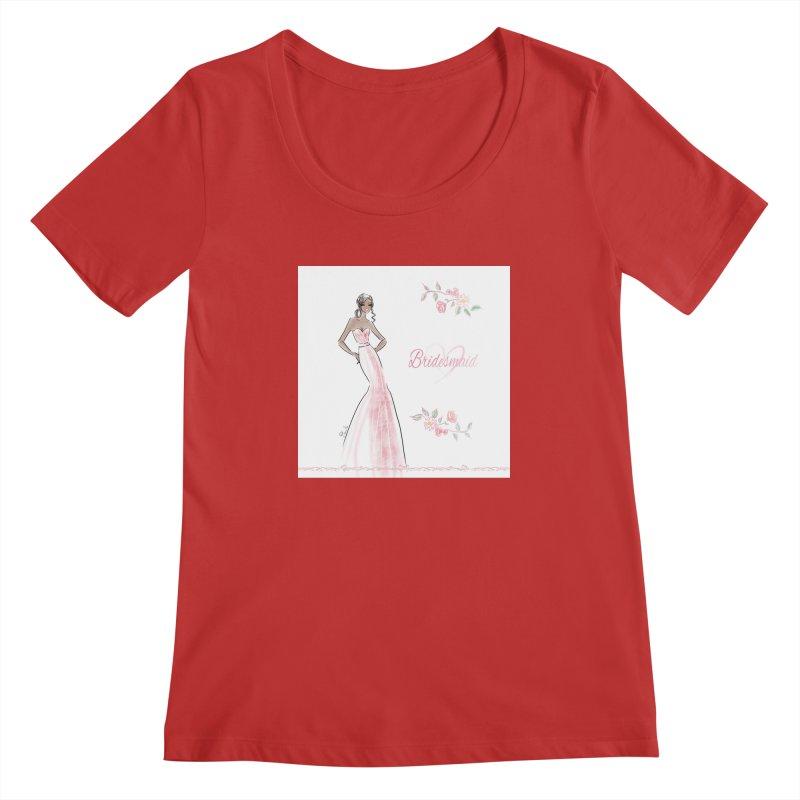 Bridesmaid - Pink Dress - 1 Women's Regular Scoop Neck by deannakei's Artist Shop