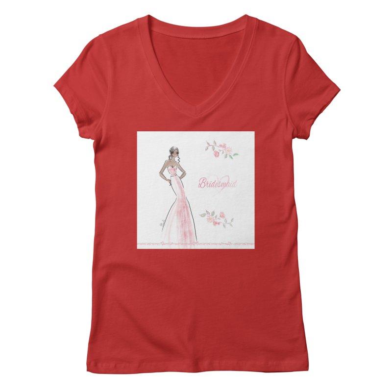Bridesmaid - Pink Dress - 1 Women's Regular V-Neck by deannakei's Artist Shop