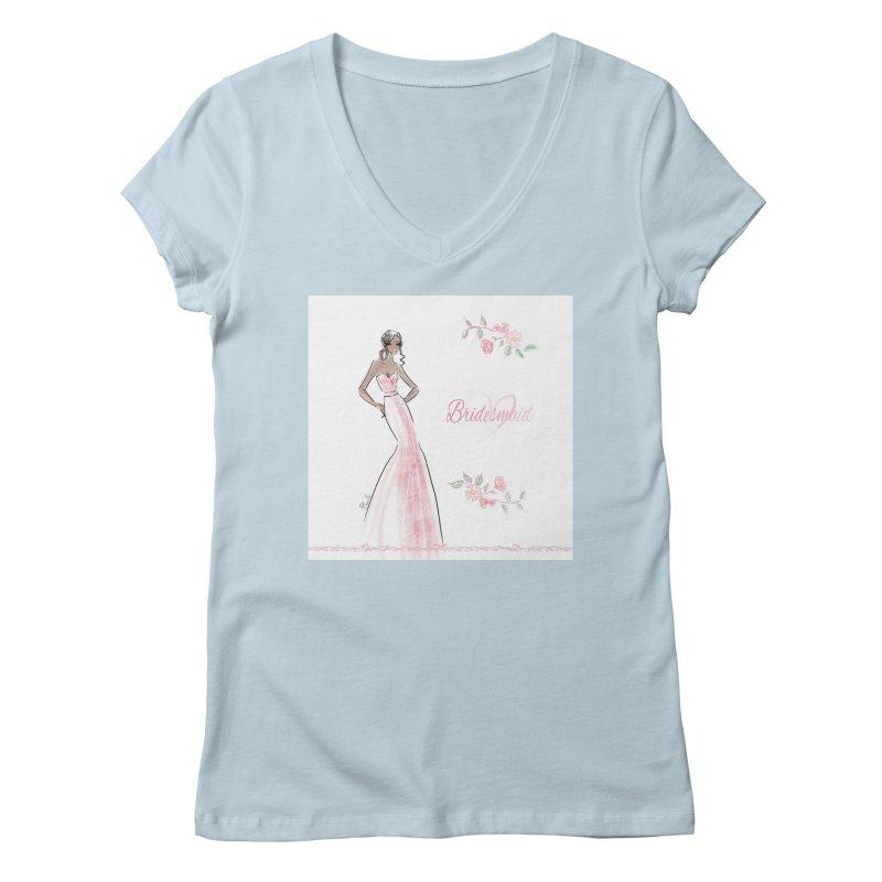 Bridesmaid - Pink Dress - 1 Women's Regular V-Neck by Deanna Kei's Artist Shop