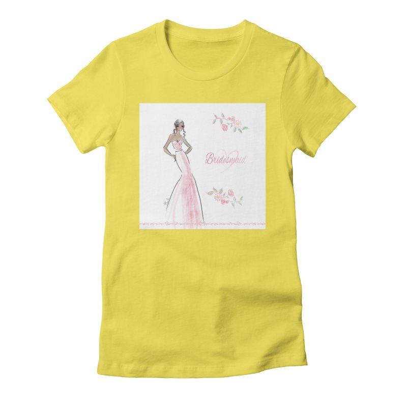 Bridesmaid - Pink Dress - 1 Women's Fitted T-Shirt by deannakei's Artist Shop