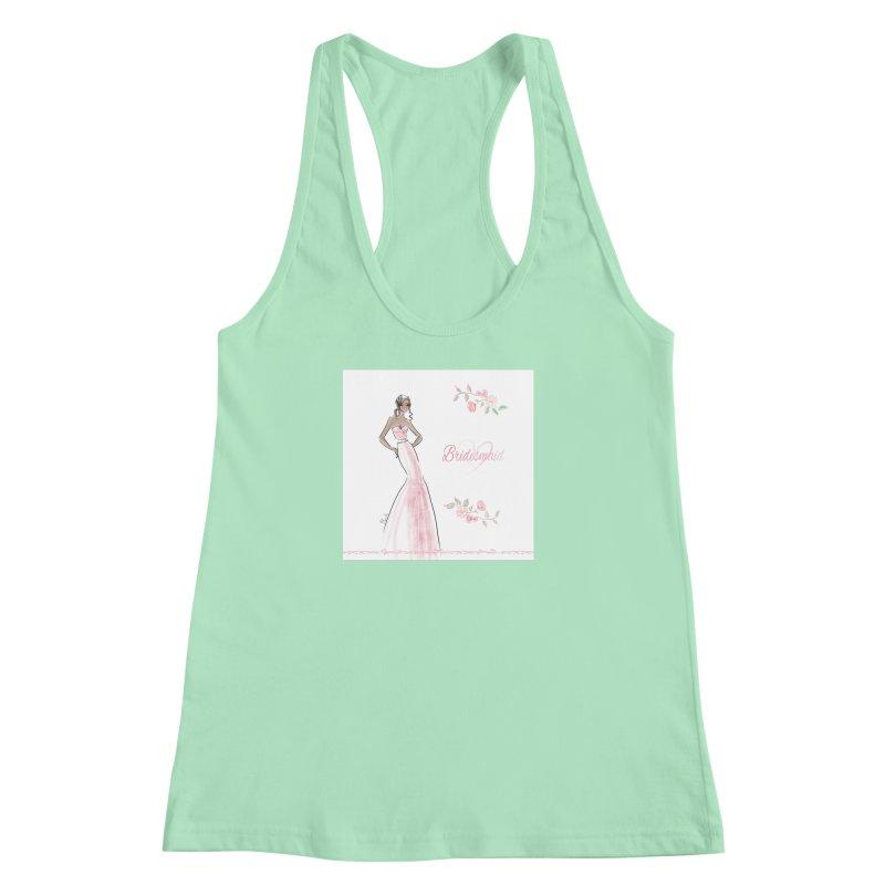 Bridesmaid - Pink Dress - 1 Women's Racerback Tank by deannakei's Artist Shop