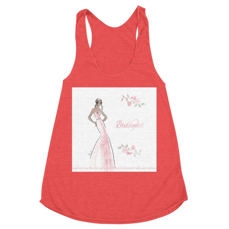 Bridesmaid - Pink Dress - 1 Women's Racerback Triblend Tank by deannakei's Artist Shop