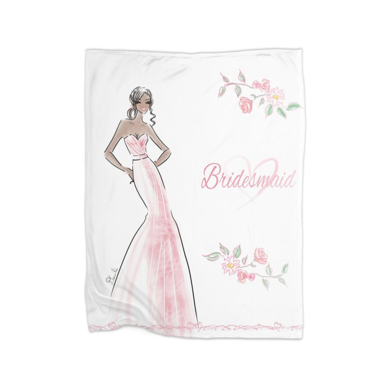 Bridesmaid - Pink Dress - 1 Home Fleece Blanket Blanket by Deanna Kei's Artist Shop